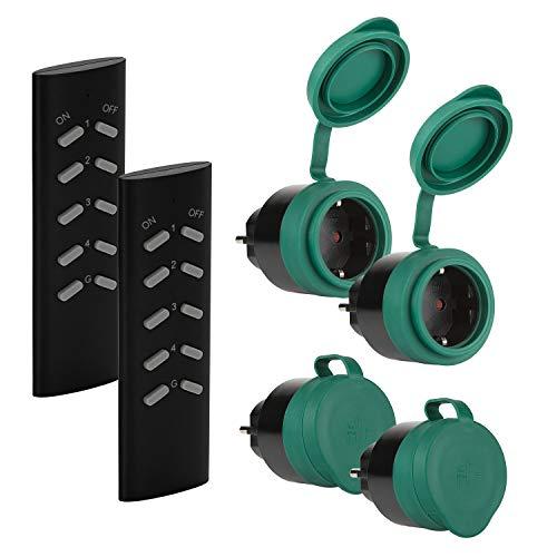 SEC24 - Funksteckdosen Set 4+2, für den Außenbereich/Outdoor, 2300 Watt, Plug & Play Funkschalt Set, Premium-Qualität, 24 monate garantie, schwarz/grün (matt), Spritzwassergeschützt - HAF780S2