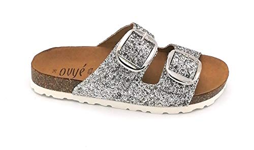 Ovye GSanna Sandale, Glitzer, Silber, Doppelschnalle, W - Schuhgröße 39 EU Farbe Silber