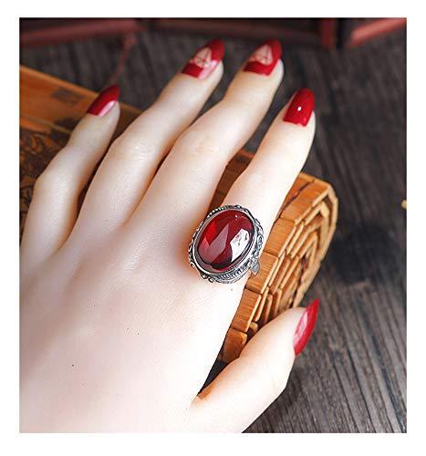Anillo de Apertura de Plata 925 Mujer Anillo de Dedo índice Rojo Granate, Pareja Anillo de Aniversario de Compromiso de Boda Joyería de Regalo de Alta Gama.-Red