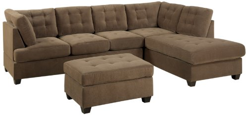 Hot Sale Bobkona Michelson 3-Piece Reversible Sectional with Ottoman Sofa Set, Truffle