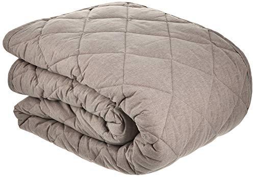 無印良品 麻綿平織キルティングラグ/生成×グレー こたつ下敷兼用・205×245cm 02926410