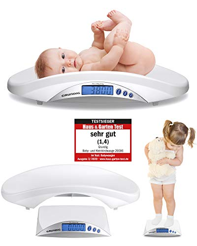 Grundig Babywaage digital Stillwaage Testsieger - Hochpräzise Baby Waage in 5 Gramm Schritten I baby scale Babywaagen Säuglingswaage Kinderwaage digital weight Wage (weiß)