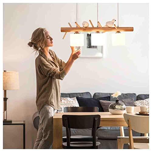 LLLKKK Lámpara colgante de 3 luces E27, de madera, para salón, dormitorio, cocina, creativa, con pájaros, para decoración del hogar, C-L