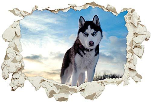 Unified Distribution Husky Hund Schnee - Wandtattoo mit 3D Effekt, Aufkleber für Wände und Türen Größe: 92x61 cm, Stil: Durchbruch