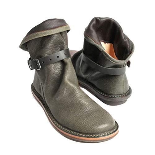 Minetom Damen Winterstiefel Wasserdicht Warm Gefütterte Winterschuhe Kurzschaft Stiefel Boots Retro Weiche Schuhe Mit Schnalle Stiefeletten Grün 41 EU