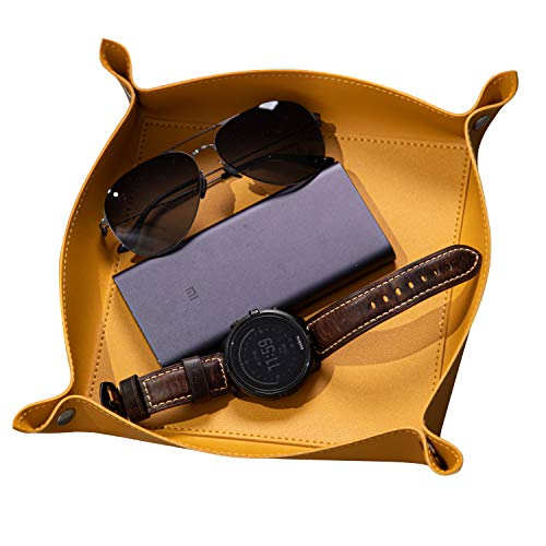 SANQIANWAN Valet Trays Leather-Small Catchall Tray Personalized Desk Organizer for Jewlery Key Glasses Headphone Wallet-Office/Home Use (L-Yellow)