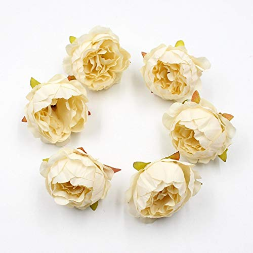 JINSUO Tdzz Dried Flowers 5pcs Fake Peony Heads Artificial Silk Flower Bouquet Real Touch Dried Flowers DIY Craft Table Flower Wedding Decoration Garland (Color : Milky White, Size : 5x5cm)