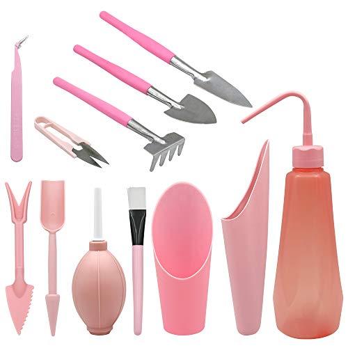 KINGLAKE Herramientas suculentas de trasplante de Color Rosa, 12 Piezas de Mini Herramientas manuales de jardín, Entusiasta de la jardinería suculenta
