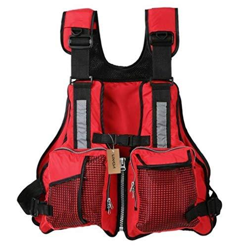 yiguanguan Schwimmweste Rettungswesten für Boote 59 x 50 cm Feststoffweste für Kinder Damen Herren Verstellbare Schwimmwesten Segeln Angeln Kajak Weste (Rot, 59 x 50 cm)