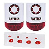 Daytech Wireless Strobe Siren Panic Alarm Button Siren Alarm with Light for Home Caring Loud Outdoor SOS Alert System 2 Red Flashing Siren and 4 Emergency Button for Store Hotel Jewelry Shop Security