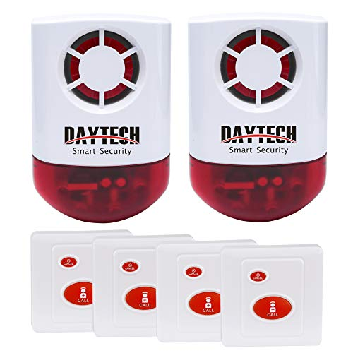 Daytech Wireless Strobe Siren Panic Alarm Button Siren Alarm for Home Caring Loud Outdoor SOS Alert System 2 Red Flashing Siren and 4 Emergency Button for Store Hotel Jewelry Shop Security