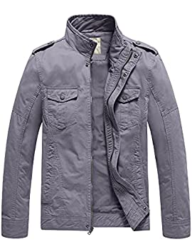 WenVen Men s Spring Military Outwear Jackets and Coats Light Grey,S