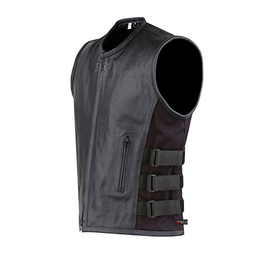 New Men's Armor Biker Motorcycle Leather Adjustable Vest Stylish Black