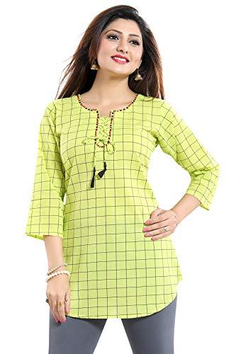 Unify NK44G Damen Tunika, indisches Ethno-Muster, Baumwolle, Bedruckt, Kurta-Shirt Gr. 38 DE Büste 91 cm  Kleid 102 cm M, grün
