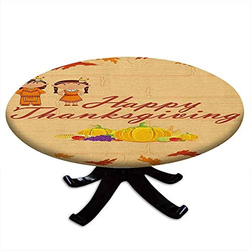 Mantel redondo de Accin de Gracias para nios, disfraz de nios indgena, con borde elstico, impermeable y lavable, 162,6 cm de dimetro, color naranja y multicolor