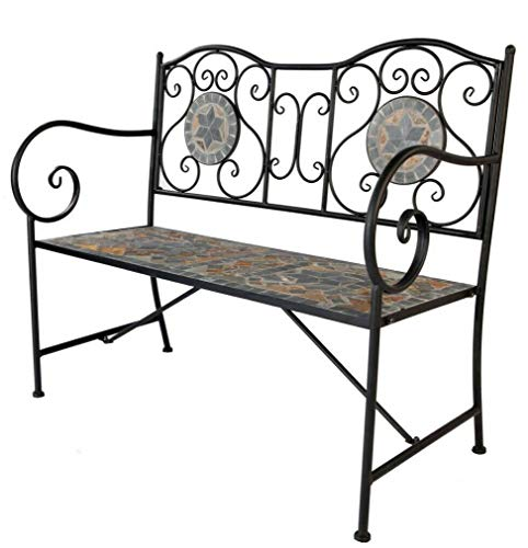 Design Mosaik Keramik Gartenbank Parkbank Eisenbank Design \'Kreta\' 108x54x90cm klappbar