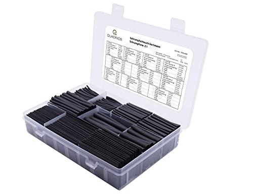 QUADRIOS GmbH großes Schrumpfschlauch Set Sortiment 800 Stück Industriequalität 1,5 mm bis 12 mm Schrumpfrate 2:1 Längen: 45-65 mm halogenfrei Sortimentskasten mit RoHS/REACH (800 Schrumpfschläuche)