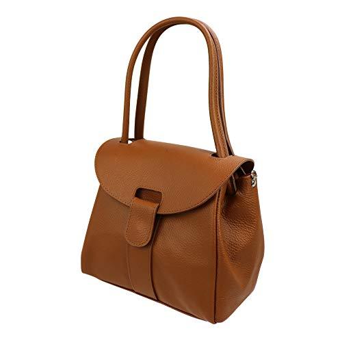 SH Leder Echtleder Schultertasche Handtasche Genarbte Leder 27x21cm Vanessa G222 (Cognac)