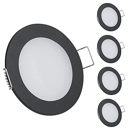 Obeaming 12V 4 x Einbauleuchte LED Einbaustrahler Dimmbar Downlight Spot Deckenleuchte für Wohnmobil Boot Camper Van Küche Bad Schrank Möbel, Vollaluminium 3W 240LM Neutral Weiß(Schwarz 4000K)