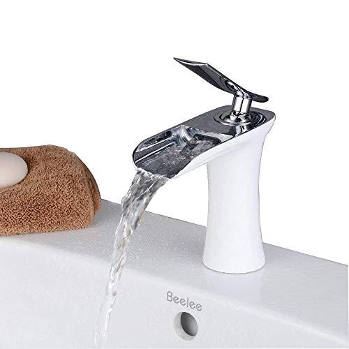 Waschtischarmatur Wasserfall Wasserhahn Bad Mischbatterie Modern Einhebel Waschbecken Armatur für Badezimmer Waschtisch, Weiße Malerei und Chrom, Beelee BL9009W
