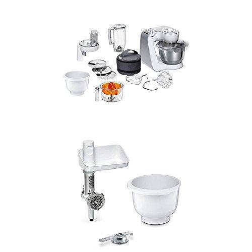 Bosch MUM58243 Küchenmaschine CreationLine, weiß/silber + MUZ5BS1 Lifestyle Set BakingSensation mit Spritzgebäckvorsatz, Rührschüssel, Fleischwolf, weiß