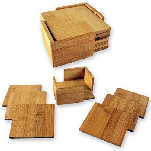 Untersetzer 6 Stück mit Halter 9,5x9,5 cm aus Bambusholz