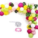 16ft Hawaii Balloon party Garland Kit,Persian Grass Tropical Palm Leaves and Red Green Yellow Pink White Latex Balloon for Hawaii Flamingo Tropical Themed Party Supplies