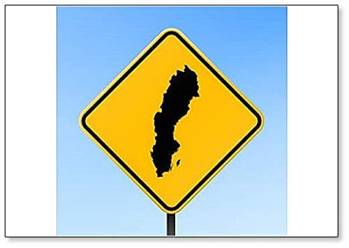 Zweden Map On Road Sign - Koelkast Magneet