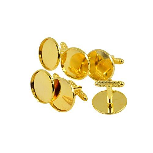 Sharplace 6 Stücke Runde Manschettenknöpfe Rohlinge Für DIY Cabochon Schmuck Herstellen - Gold