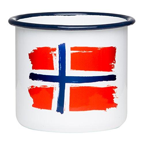 Norwegen Emaille Tasse mit Flagge, leicht und bruchsicher, für Camping und Outdoor Fans - von MUGSY