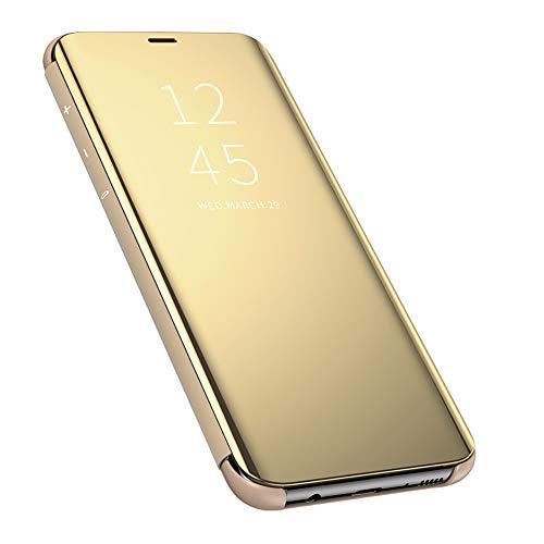 QBER para XiaoMi RedMi Note 8 Pro Funda,360°Protectora Smart Flip Cover Stand Function Mirror Brillante tirón del Caso Duro con para XiaoMi RedMi Note 8 Pro-Oro