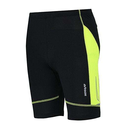 Airtracks FUNKTIONS Laufhose PRO AIR KURZ/Running Hose/Tight/Shorts/Reflektoren - M - schwarz-neon