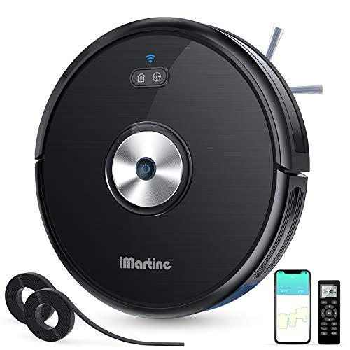 iMartine Robot Vacuum Cleaner Slim, Wi-Fi Connected, Compatible with Alexa, Smart Self-Charging Robotic Vacuum, 1600Pa Strong Suction, Quiet Ultra-Thin for Floor Carpet (D900C)