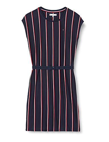 Tommy Hilfiger Mädchen Vertical Knit Dress S/s Kleid, Blau (Blue Stripe 01 0a4), Jahre (Herstellergröße: 14)