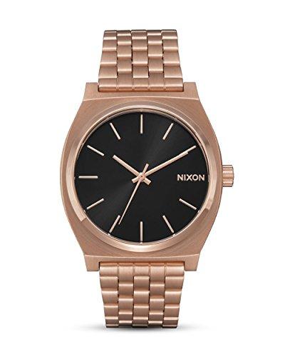 Nixon Time Teller Herrenuhr Analog Quarz mit Edelstahl Armband All Rose Gold / Schwarz Sunray