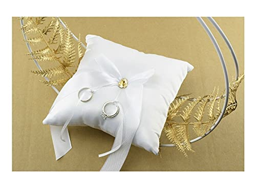Cojín para alianzas de boda original moderno, soporte para alianzas, color blanco y dorado sobre expositor, decoración de accesorios para novios