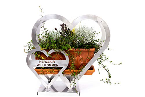 Herz • Gartendeko • Deko Herz • Herz aus Edelstahl • Herz aus Stahl • Herz zum Bepflanzen • Herz Edelstahl • Herzlich Willkommen Herz • Gartendeko • Dekoherz • Herzdeko • Dekoherz