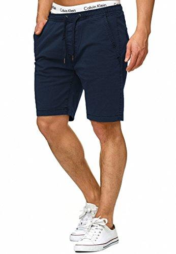 Indicode Herren Kelowna Chino Shorts mit 4 Taschen & Kordel aus 98% Baumwolle | Kurze Hose Regular Fit Bermudas Sommerhose Herrenshorts Short Men Pants Chinohose für Männer Navy L
