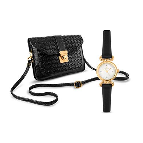 Temptation Lot de 2 sacs à main et montre-bracelet pour femme en cuir synthétique avec sangle d'épaule amovible, montre filigrane avec strass en cuir synthétique Noir/doré