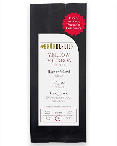 BRÜHDERLICH Premium Kaffeebohnen Gemahlen Yellow Bourbon (500g) - Außergewöhnlich Mild und Säurearm - Besonderer Kaffee Arabica aus Brasilien - Harmonische Grundsüße und unglaublich Weiches Aroma
