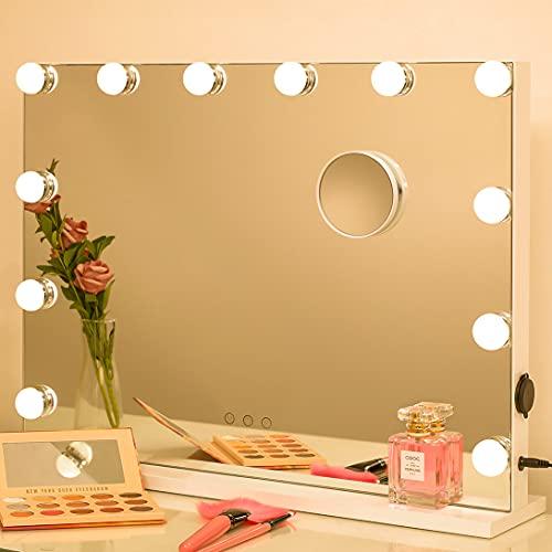 2-FNS Hollywood Makeup Spiegel mit 12 Dimmbarer LED-Lichtern, Touch-Steuerung Kosmetikspiegel, großer Theaterspiegel mit 3 Farbe Licht und USB-Ladeanschluss, Tischplatte oder Wandmontage