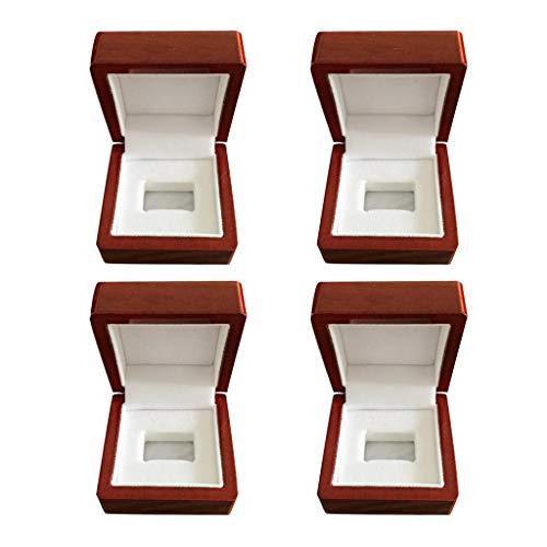 MagiDeal Joyero de Madera Rojo Vino de 4 Piezas 65x65x50mm para Exhibición de Vitrina de Soporte