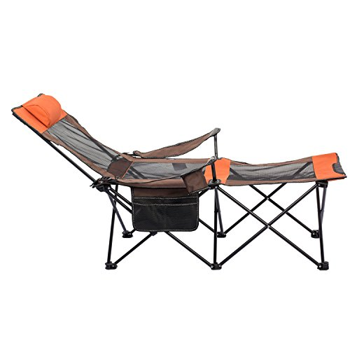 ALLCAMP Folding Camping Chairs Beach Outdoor Patio Folding Recliner Portable Camping Sleeping Comfortable (Long 56quotWeight Endurance 330 lbs) Orange