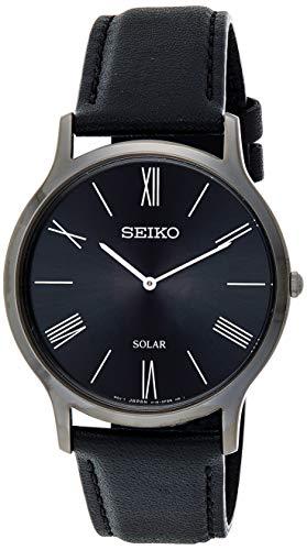 Seiko Solar Herren-Uhr mit Titankarbidauflage und Lederband SUP855P1