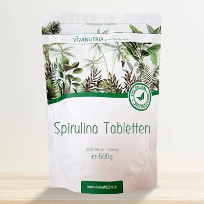 VivaNutria Spirulina Presslinge 500g | aus kontrolliertem Anbau I 2000 Spirulina Tabletten ohne Zusätze - rein & natürlich I schonend verarbeitet | Rohkostqualität I vegan…