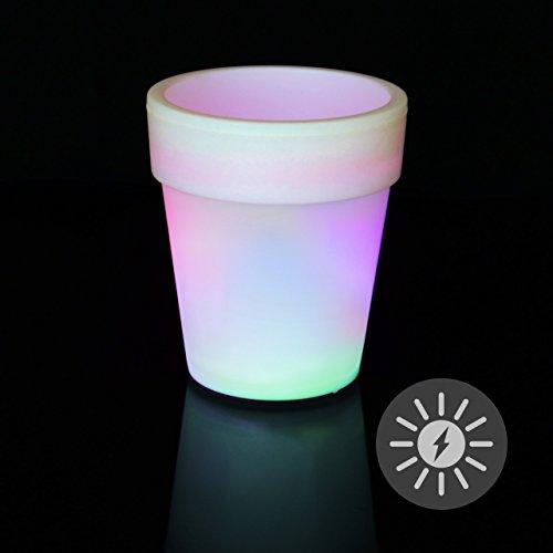 Solar Blumentopf Pflanzkübel mit 3 LED – 19 x 17 cm – Kunststoff weiß – mit Akku Wasserablauf Dämmerungssensor – Farbwechsel bunt