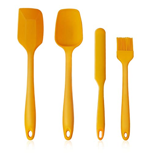 Asdirne Silicone Spatulas, Including Spoon Spatula, Spatula, Spreader, Cooking Brush,Resistant to High Temperature and Nonstick, 4Pcs, Yellow