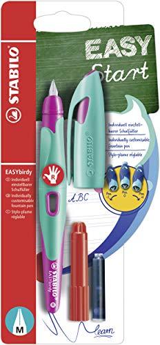 Ergonomischer Schulfüller für Rechtshänder mit Standard-Feder M - STABILO EASYbirdy in türkis/neonpink - inklusive Patrone und Einstellwerkzeug