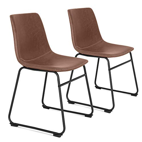 Best Choice Products Distressed Faux Leather Upholstered Vintage Dining Chairs, Home Furniture for Kitchen, Office w/Metal Frame, Foot Pads, Decorative Stitching, Set of 2, Brown