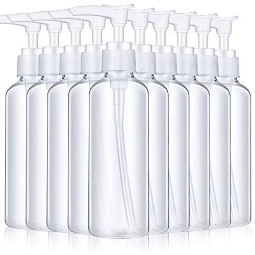 10 Pieces 100 ml Plastic Empty Bottles Empty Shampoo Pump Bottles Lotion Pump Bottles for Travel Outdoor Camping Business Trip (Transparent)